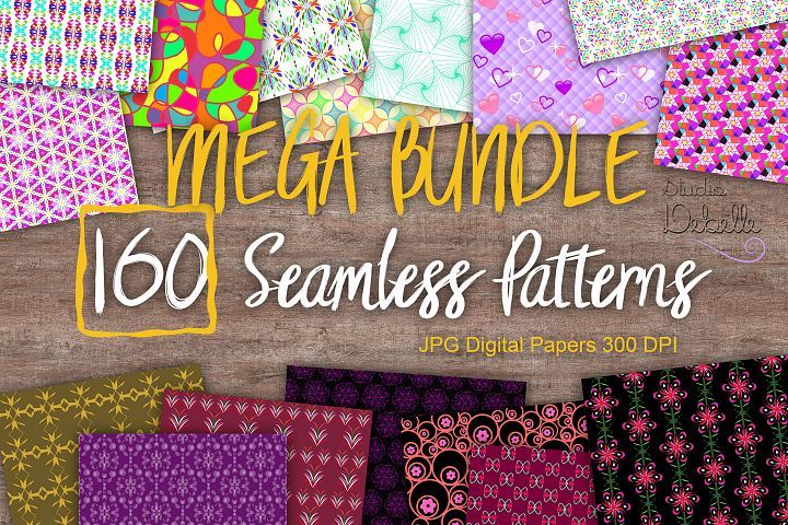 MEGA BUNDLE 160 Seamless Patterns Digital Paper from DesignBundles.net