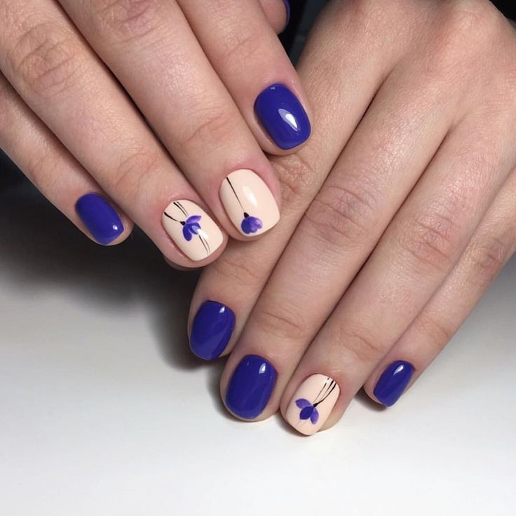 Blue and beige nails, Bright blue nails ideas, Fashion nails 2017, Nails ideas with flowers, Purple nails ideas, Shellac nails 2017, Square nails, Two color nails