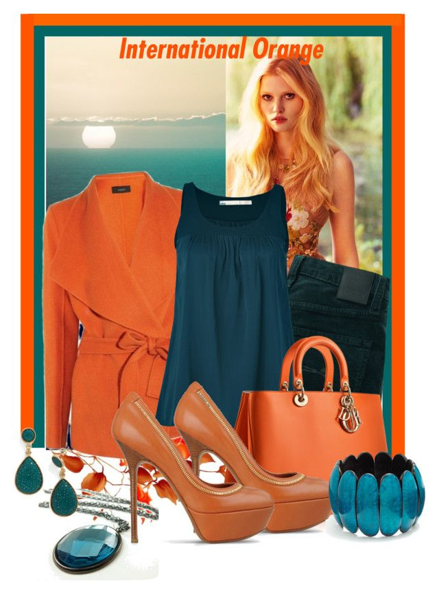 orange&turchese by carmelaromio on Polyvore featuring polyvore moda style Schumacher Nobody Denim Sergio Rossi Sonoma life + style Pantone fashion clothing