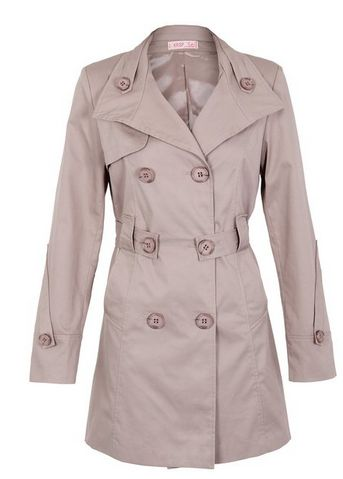 """Womens Ladies Double Breasted Belted Long Sleeve Tailored Smart Trench Rain Coat  ******   Soft cotton fabric, fully lined, double breasted design, belt loops, two slip in pockets, spare buttons included. TIE BELTED - round collar, storm patch, cuff flaps, tie belt, length from shoulder 29""""/74cm. TWO BUTTON COLLAR - two button high neck collar, asymmetric cuff flaps and belt fastening, length from shoulder 30""""/76cm."""