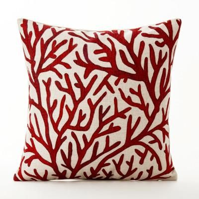 Tropical Throw Pillow Cover  Perfect for our beach house! Love the coral design!