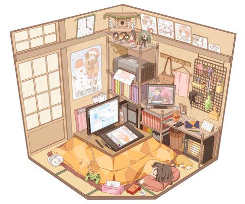 Anime Wallpaper For Bedroom Bedroom Arrangement Pictures Vintage Teenage Bedroom Ideas Hippie Bedroom Decor: Illustrated Isometric Room