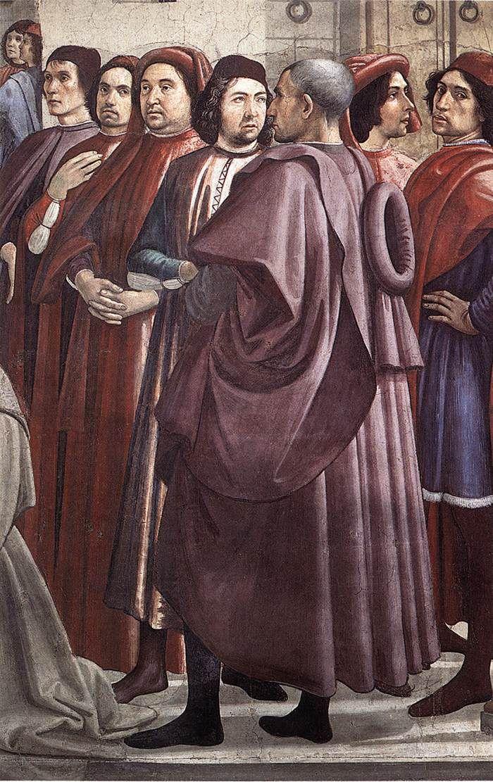 Affresco Risurrezione, particolare di un ragazzo di Domenico Ghirlandaio Chiesa Santa Trinità, Firenze