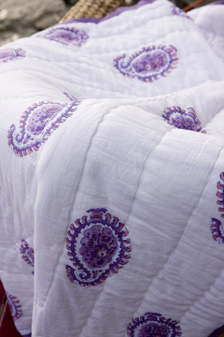 Purple Quilt Bedding - Queen Size Quilt Sets - Hand Block Printed from Attiser