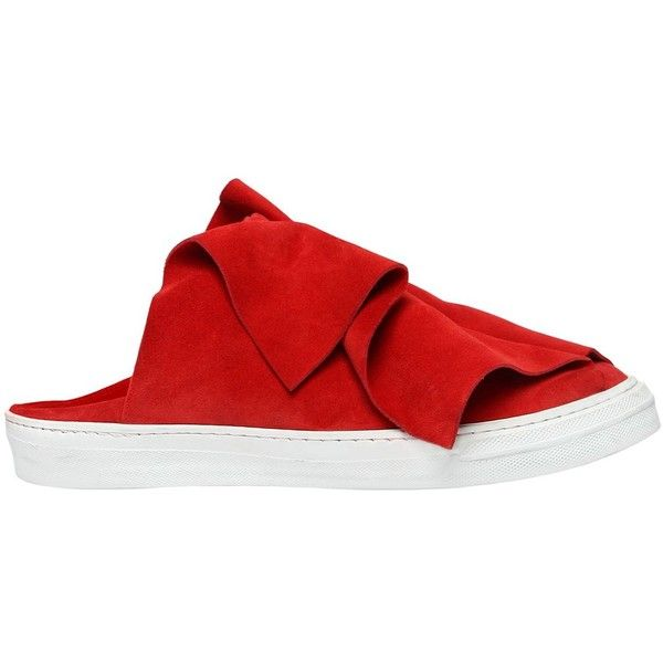 Ports 1961 Women 20mm Layered Suede Mule Sneakers ($550) ❤ liked on Polyvore featuring shoes, sneakers, red, mule shoes, ports 1961 sneakers, suede sneakers, red mule shoes and rubber sole shoes