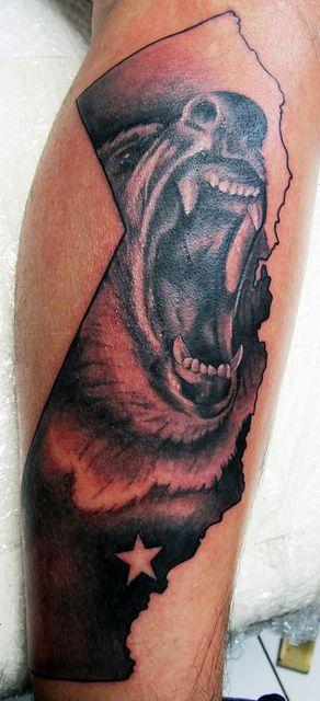 California bear tattoo by DeadlyInk