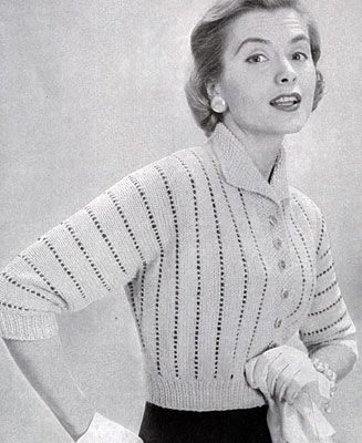 NEW! Cardigan Sweater knit pattern from 21 Bulky Styles Featuring Quick Little Jackets, Book No. 51, by Bernat Handicrafter in 1956.