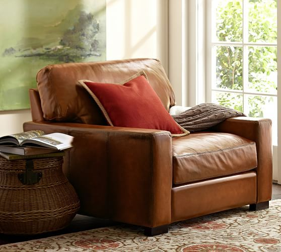 LIVING ROOM: Turner Square Arm Leather Armchair (& Ottoman)  | Pottery Barn