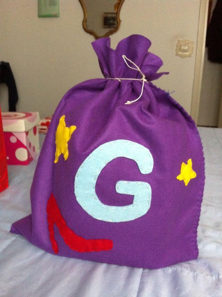 Sacco per regali di Natale con iniziale ( G )