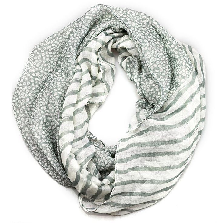 $11.99, Gray Stripe Dots Inifinity Scarf, women for her fashion accessoires teen gift idea holiday travel loop circle by URFashionista.com on Etsy