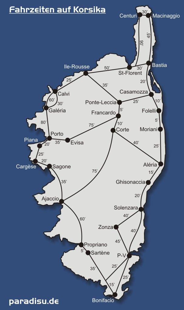 Korsika Fahrzeiten