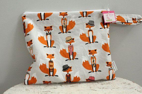 Wet Bag wetbag Diaper Bag ICKY Bag fox PETUNIAS gym by PETUNIAS