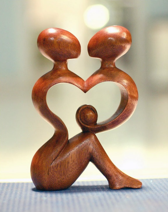 """Wood Sculpture :: Novica """"A Heart Shared by Two"""""""