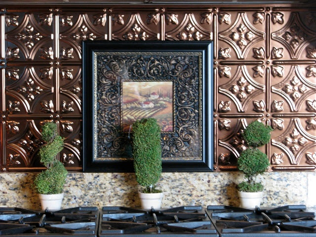 Inexpensive Backsplash Ideas. Like This Tin Ceiling Tile Backsplash Idea