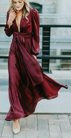#winter #fashion / Burgundy Maxi Dress + Grey Pumps