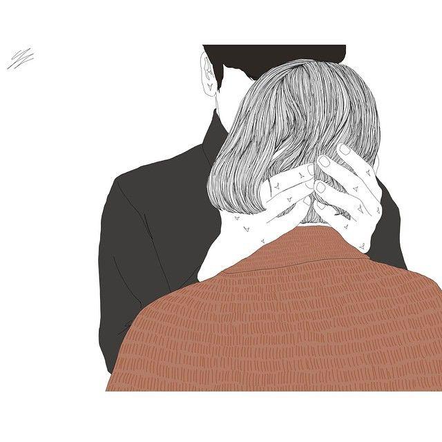 그때 그곳에 함께하며 비슷한 어떤 생각들을 했음에 행복했던 시간들.  #illustration #drawing #linedrawing #artwork #couple #winter #knit #love #hug #일러스트 #드로잉 #그림 #커플