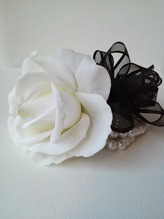 Ready to Ship Corsage-Black and White by BecauseOfLoveFloral