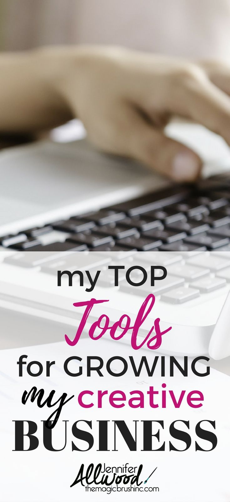 Jennifer Allwood's top tools, websites and services for growing a creative business and growing a blog. Jennifer owns theMagicBrushinc.com and successfully paints in her metro area, writes a blog and ebooks, sells DIY videos and mentorships programs and business trainings to creative entrepreneurs. Her tools will help you grown your business and make a profit. Blogging Tips