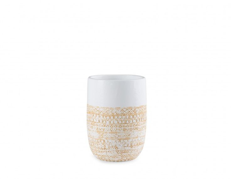 Useful and beautiful! This modern white vase, made from ceramic and handcrafted in Vietnam, will bring a welcomed pop of colour. With a yellow / gold hand carved pattern, Merlin looks fantastic as is or can hold  dried arrangements, from flowers to foliage.
