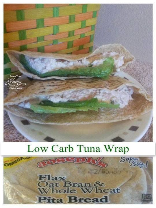 Low Carb Tuna Wrap  Ingredients: Bumble Bee Chunk Light, Water, 5 oz Joseph's Bread - Whole Wheat Pita Bread... Kraft Regular Mayo Lettuce - Romaine, raw, 2 leafs  Directions: Cut the wrap in half. Open the can of tuna and drain the water. Mix tuna in a dish with 1 tablespoon mayo (can use more or less based on your taste) Take 2 leaves of romaine off the stalk and cut them in half. Put the 2 of the halved leaves in each half of the pita pocket. Stuff each half of the pita with half of the…