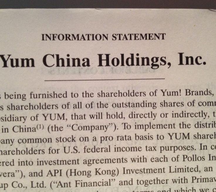 Yum Brands Shareholder Report 2016 Yum China Holdings Information Statement