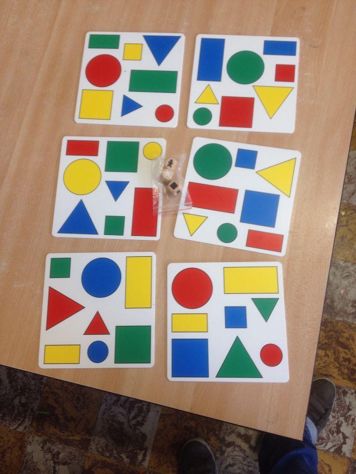 Bingo met logiblokken; kleur, vorm, grootte