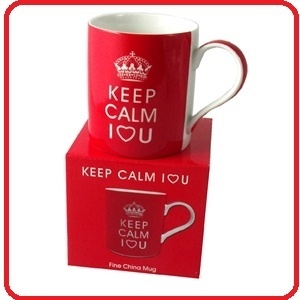 Keep Calm I Love You Mug Red Valentines Coffee Cup Fine China Carry on Range   £4.95