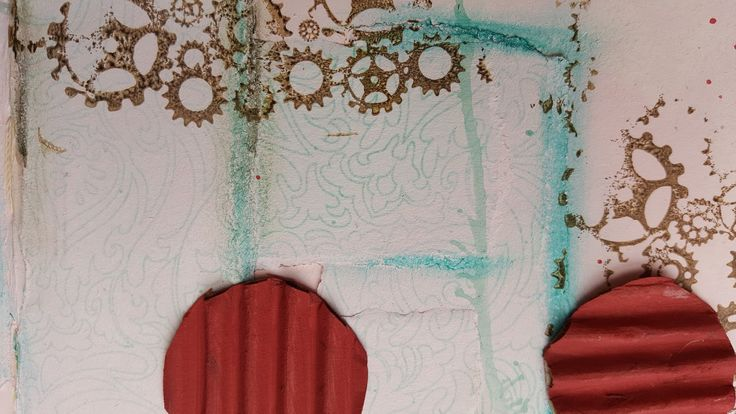 Adding texture to pages with torn paper highlighted with Tim Holtz Distress crayons and corrugated cardboard