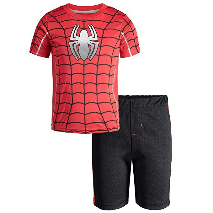 Marvel Avengers Black Panther Spiderman Hulk Boys Athletic T-Shirt /& Mesh Shorts Set