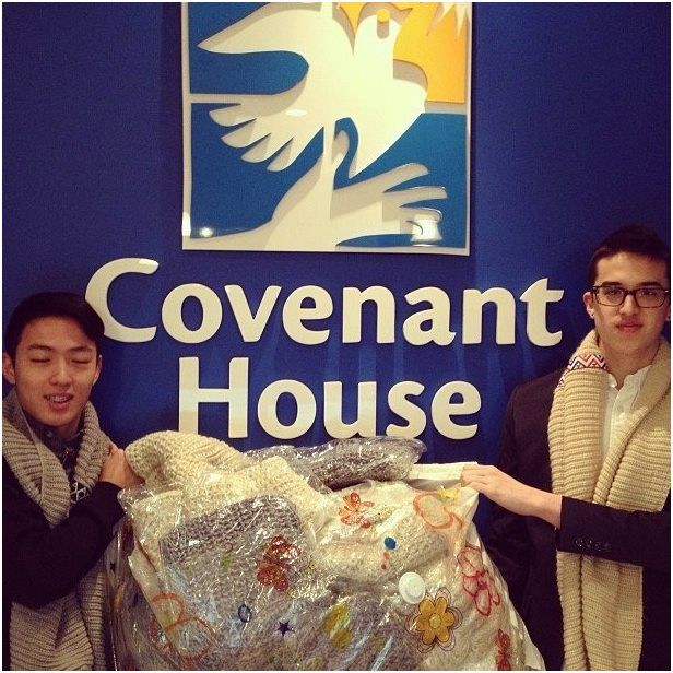 Thanks to Wei and Patrick from Aeon Attire. They came in to donate 70 scarves to keep our youth warm and stylish this winter.