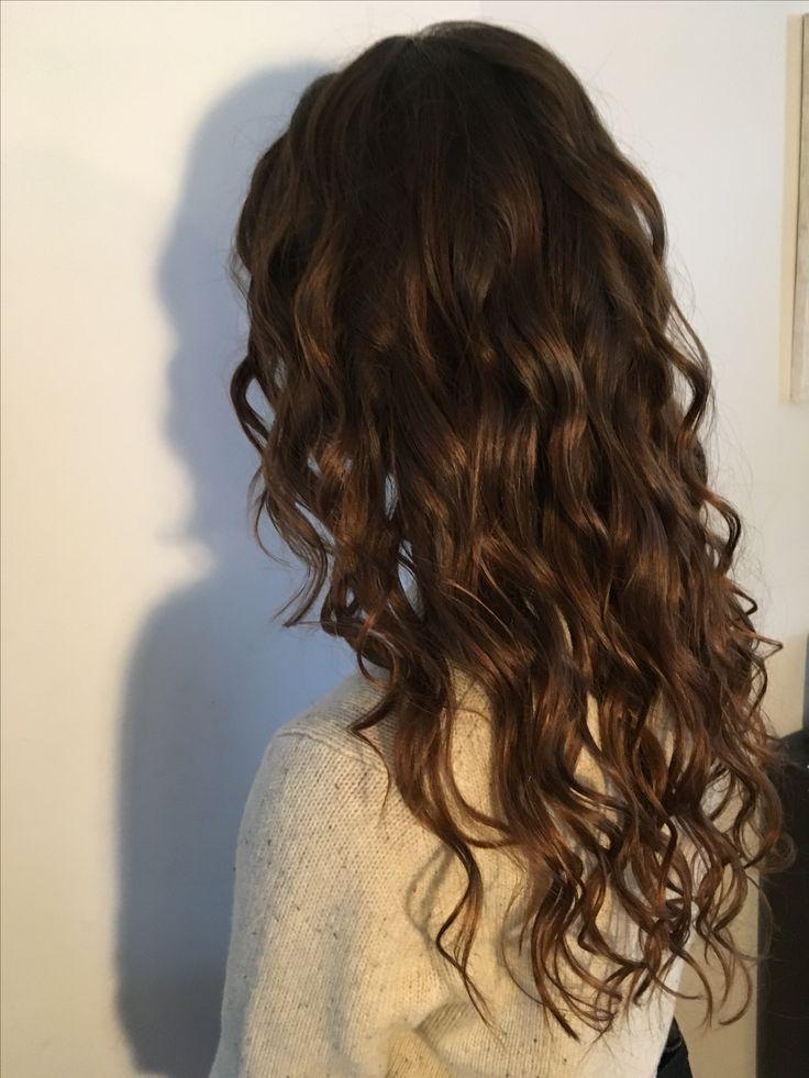 Curly long brown hair