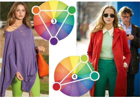 (3) и (4) Сочетание триада. На цветовом круге в виде равностороннего и острого треугольника. Соединяя таким образом линии, вы находите наилучшие пары для цвета, при этом, не обязательно использовать три цвета, каждый из них сочетается друг с другом и вполне могут существовать самостоятельно.