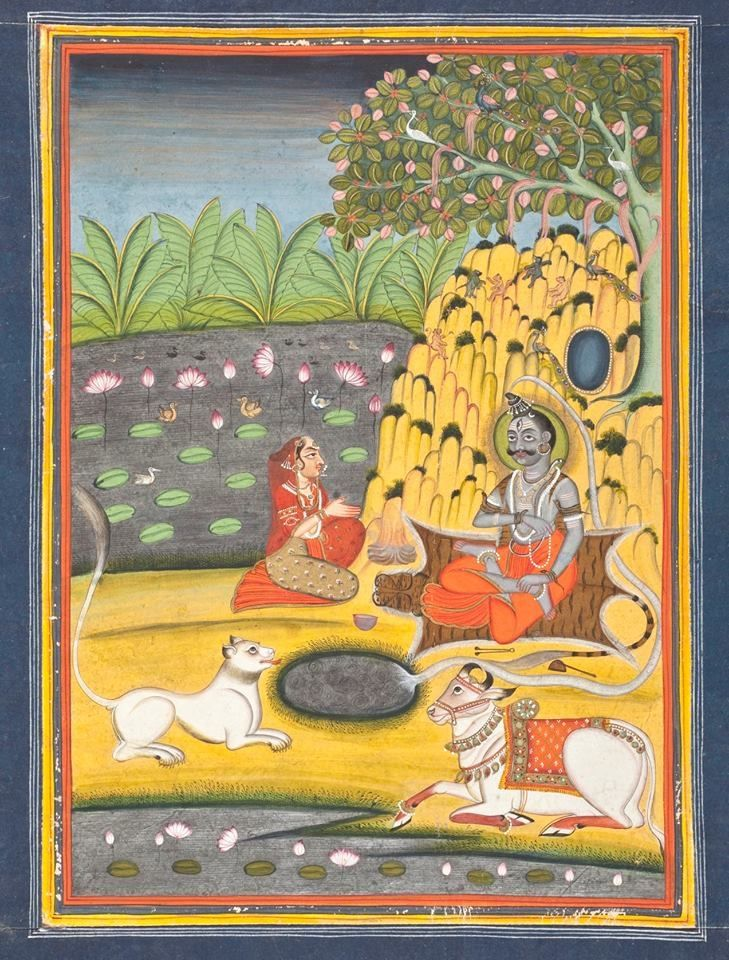 Parvati Worshipping Shiva India,, Datia, MP 1750-1800 watercolor, gold and silver: LACMA