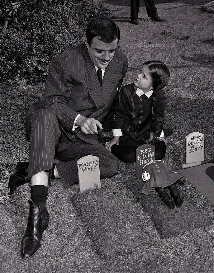John Astin as Gomez and Lisa Loring as Wednesday in The Addams Family