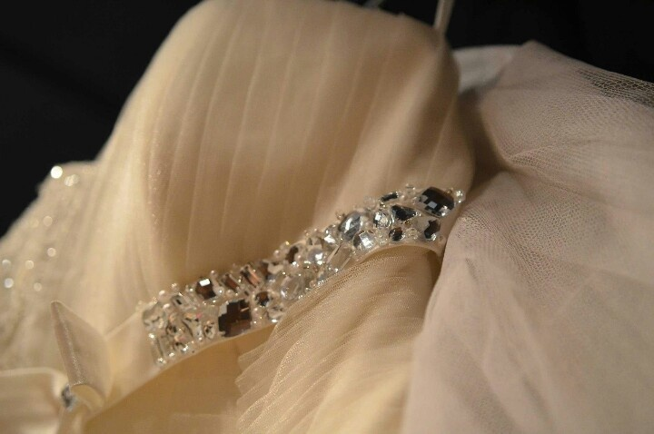 Swarovski detailing on the empire line of my wedding dress (I wore it in the holy matrimony).