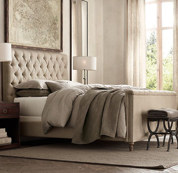 "Chesterfield 54"" Panel Queen Bed With Footboard Belgian Linen Sand  Restoration Hardware"