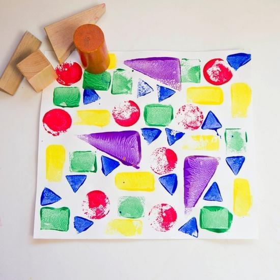 Wooden Block Prints geometric art lesson project paint pre-k kindergarten kinders