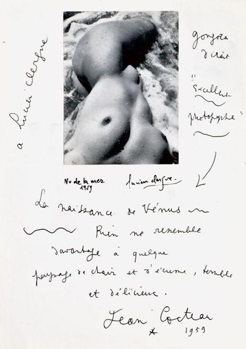 Jean Cocteau & Lucien Clergue - Nu de la mer, 1959.