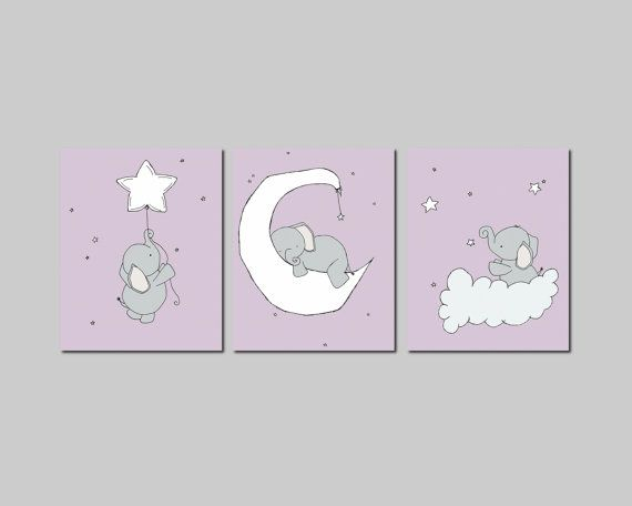 Purple and Gray Nursery, Elephant Nursery Art Prints, Nursery Decor, Elephants Moon and Stars Art, Set Of 3 Print, Kids Wall Art
