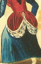 English 16thc skirt fastener by Romany Way, via Flickr English 16thc skirt fastener  English 16th century wallpainting showing a woman with her fur-lined skirt hooked up by a clothes fastener.