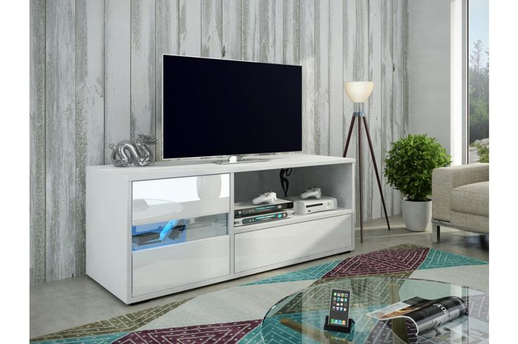GLOBAL 1 televizní stolek, bílá/bílý lesk