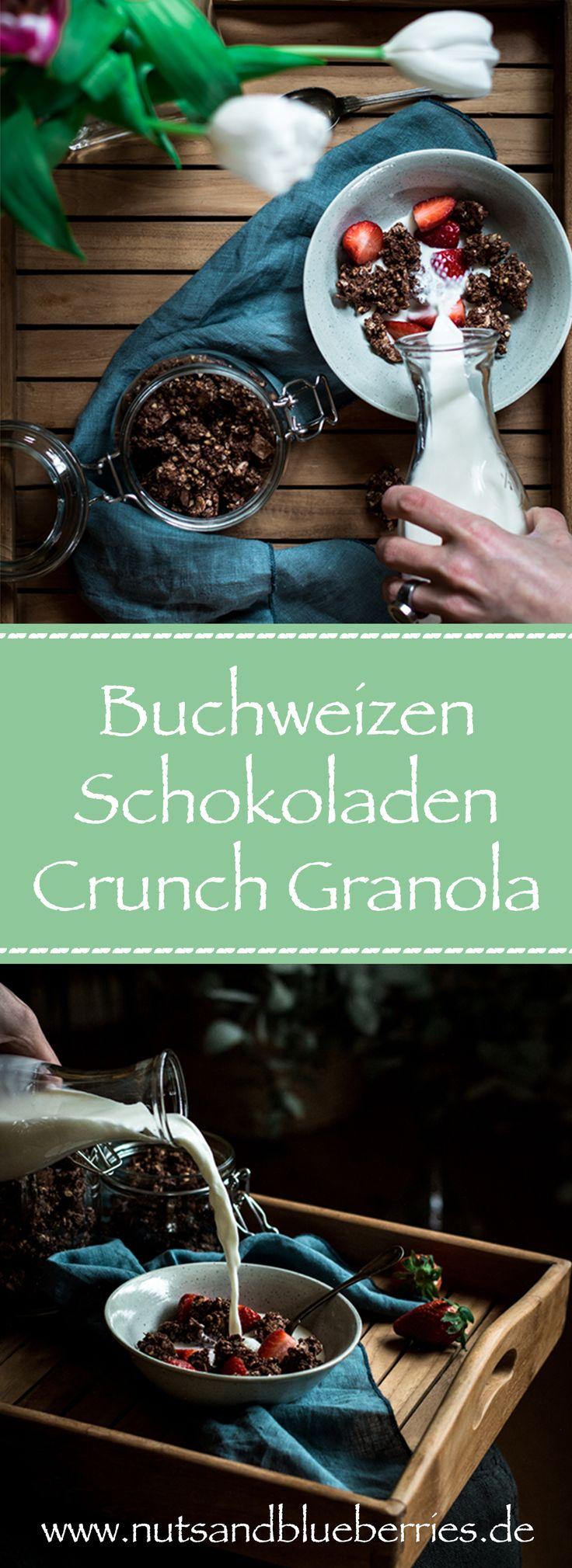 BUCHWEIZEN SCHOKOLADEN CRUNCH GRANOLA  .  Granola selber machen. Zuckerfrei. Ges…