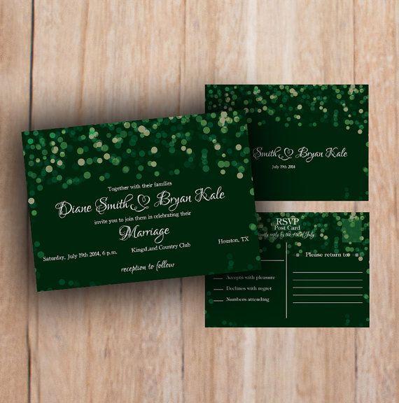 Printable Wedding Invitation Emerald green by PrintableMoon, $10.00