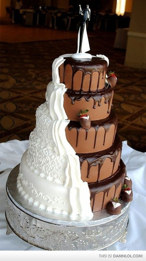 perfect wedding cake- he likes vanilla and i like chocolate