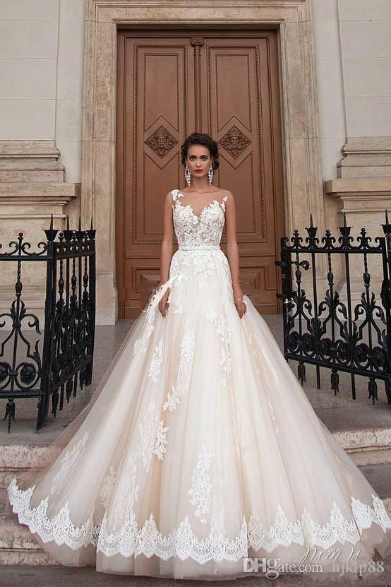 Stunning 2016 Milla Nova Sheer Castle Wedding Dresses Ball Illusion Back Appliques Lace Chapel Train Bridal