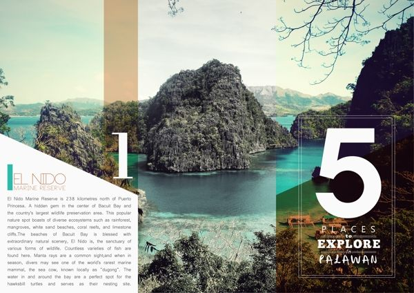 I like how the transparent reveals the real color, and the rest of the photo is slightly muted.  Travel Brochure by Kristina Bolante, via Behance