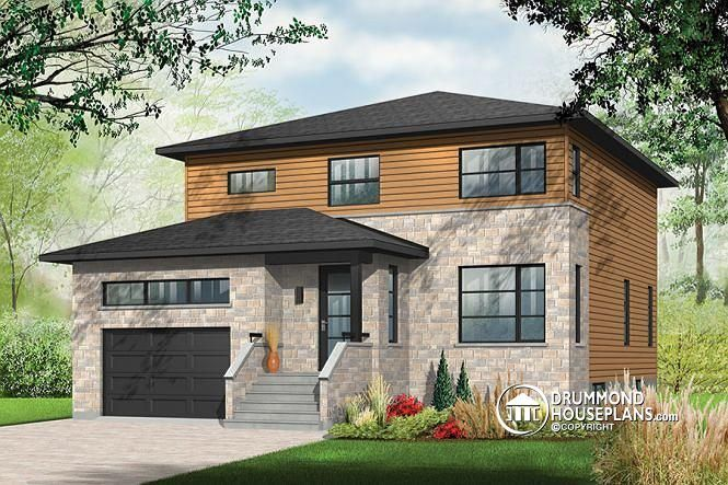 W3880 Large Modern House plan 4 bedrooms open floor plan