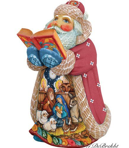 G. DeBrekht Artistic Studios Holy Scriptures Santa. Each figurine is artistically hand-painted with detailed scenes including classic Christmas art, winter wonderlands and the true meaning of Christmas, nativity art. DeBrekht fine art traditional, vintage style sculpted figures are delightful and imaginative. With G.DeBrekht holiday home decor and decorations you can choose your style and create a true holiday gallery of art for your family to enjoy. Every G.DeBrekht holiday...