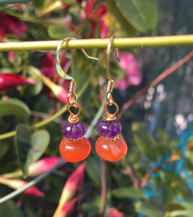 Amethyst  Carnelian Gemstone Earrings by VeronicaBCreations on Etsy https://www.etsy.com/au/listing/569705229/amethyst-carnelian-gemstone-earrings