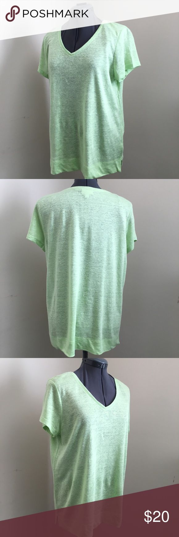 "J Jill love Linen tee J Jill 100% linen tee. Pale lime/pistachio color. EUC. Size medium measures 21.5""across chest, 26"" from shoulder seam to hem. Slightly loose, draped fit J. Jill Tops Tees - Short Sleeve"